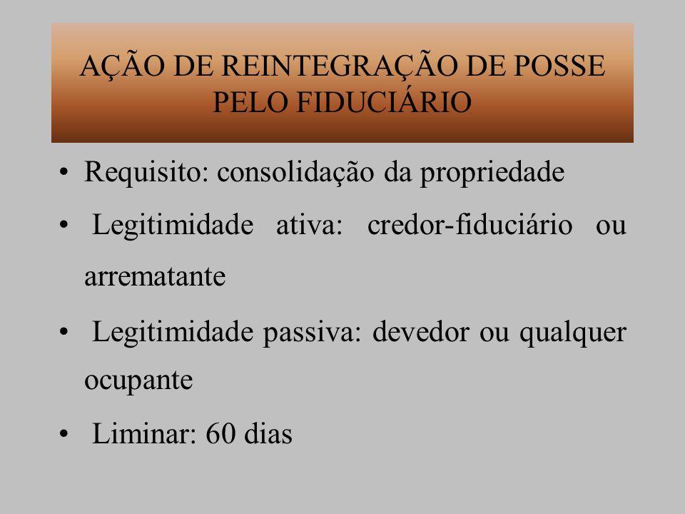 AÇÃO DE REINTEGRAÇÃO DE POSSE PELO FIDUCIÁRIO Requisito: consolidação da propriedade Legitimidade ativa: credor-fiduciário ou arrematante Legitimidade