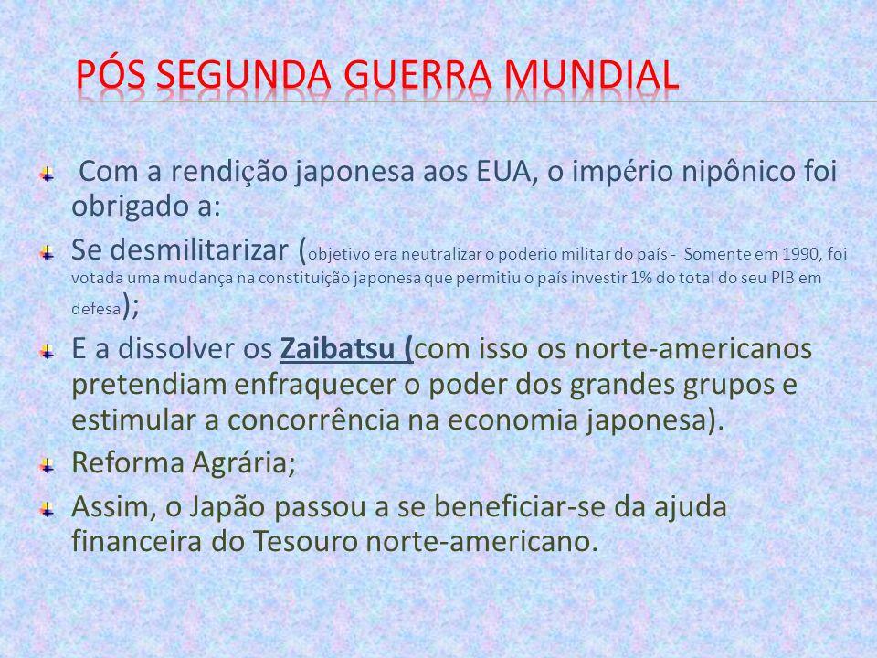Com a rendi ç ão japonesa aos EUA, o imp é rio nipônico foi obrigado a: Se desmilitarizar ( objetivo era neutralizar o poderio militar do país - Somen