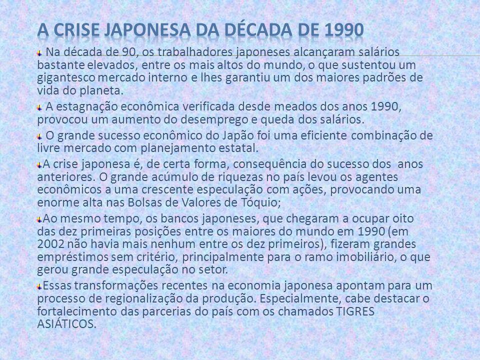 Na década de 90, os trabalhadores japoneses alcançaram salários bastante elevados, entre os mais altos do mundo, o que sustentou um gigantesco mercado
