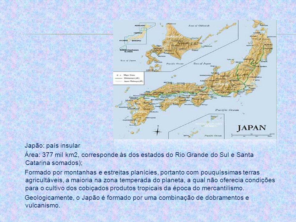 Japão: país insular Área: 377 mil km2, corresponde às dos estados do Rio Grande do Sul e Santa Catarina somados); Formado por montanhas e estreitas pl