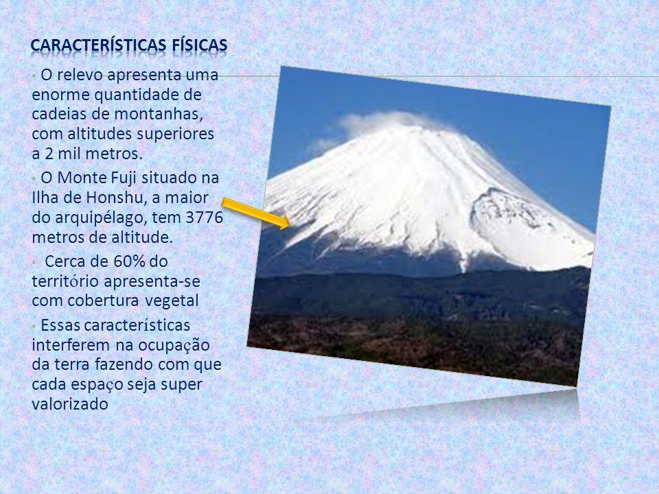 O relevo apresenta uma enorme quantidade de cadeias de montanhas, com altitudes superiores a 2 mil metros. O Monte Fuji situado na Ilha de Honshu, a m