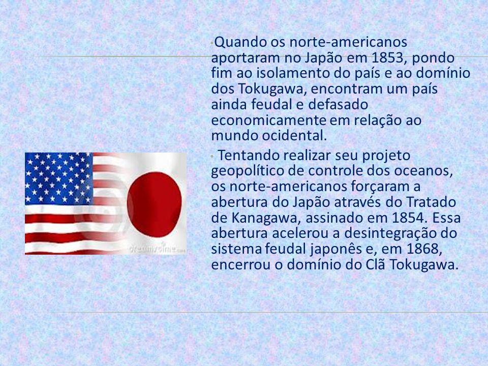 Quando os norte-americanos aportaram no Japão em 1853, pondo fim ao isolamento do país e ao domínio dos Tokugawa, encontram um país ainda feudal e def