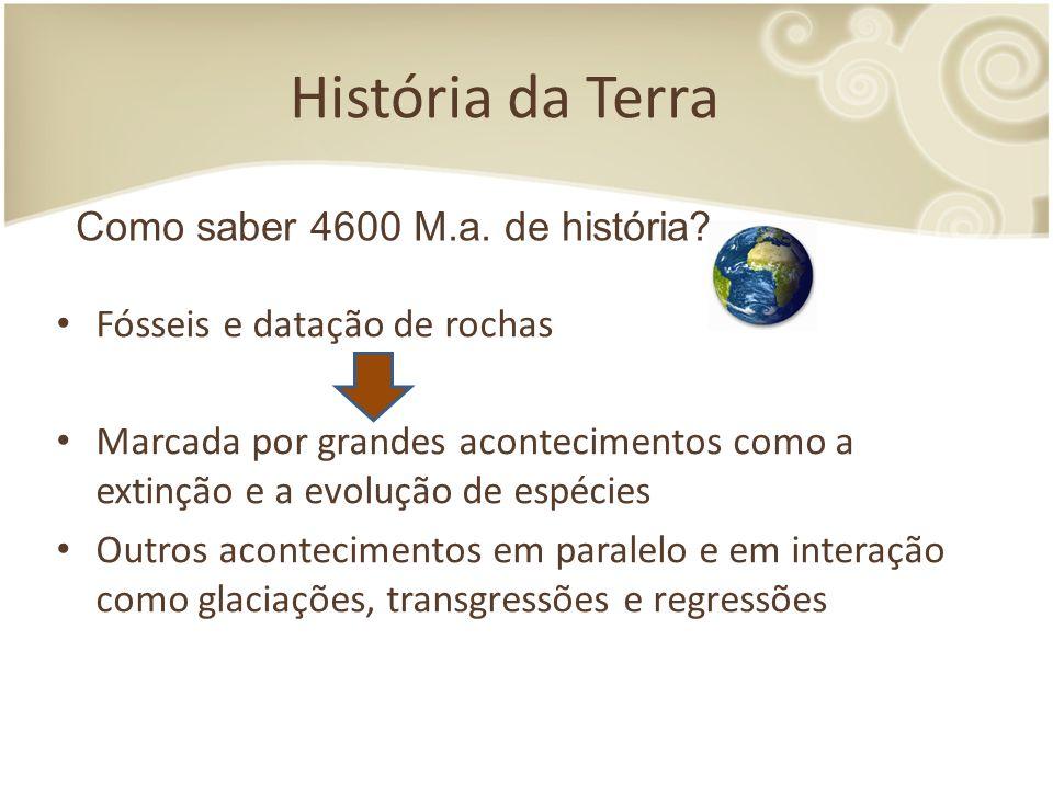 História da Terra Fósseis e datação de rochas Marcada por grandes acontecimentos como a extinção e a evolução de espécies Outros acontecimentos em paralelo e em interação como glaciações, transgressões e regressões Como saber 4600 M.a.