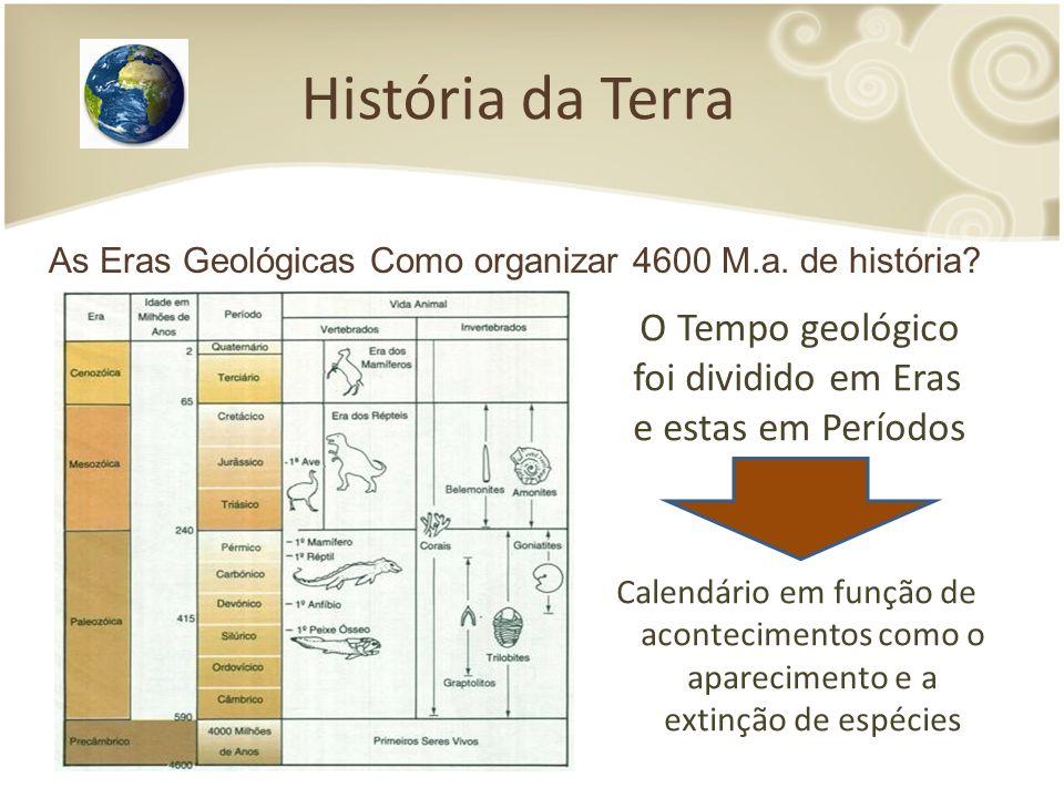 História da Terra O Tempo geológico foi dividido em Eras e estas em Períodos Calendário em função de acontecimentos como o aparecimento e a extinção de espécies As Eras Geológicas Como organizar 4600 M.a.