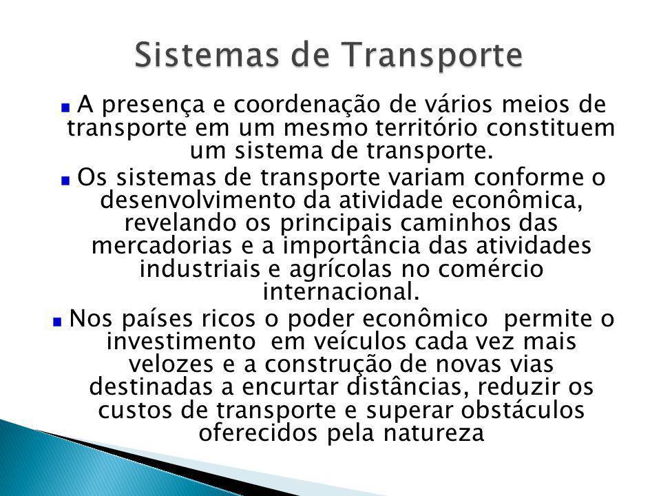 A presença e coordenação de vários meios de transporte em um mesmo território constituem um sistema de transporte. Os sistemas de transporte variam co