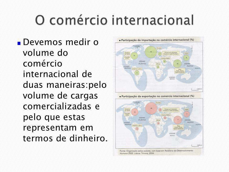 Devemos medir o volume do comércio internacional de duas maneiras:pelo volume de cargas comercializadas e pelo que estas representam em termos de dinh