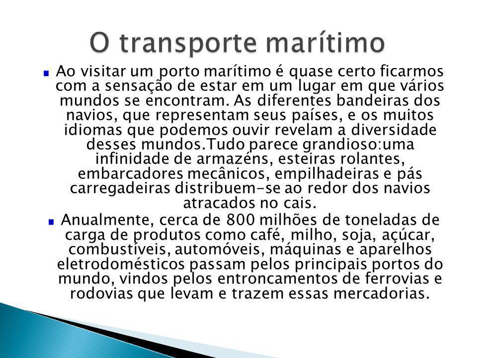 Oceano Atlântico Os portos marítimos escoam grande parte da produção agrícola e industrial.