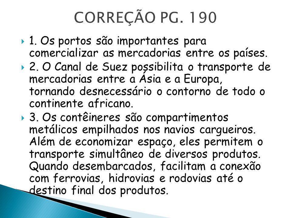 1. Os portos são importantes para comercializar as mercadorias entre os países. 2. O Canal de Suez possibilita o transporte de mercadorias entre a Ási