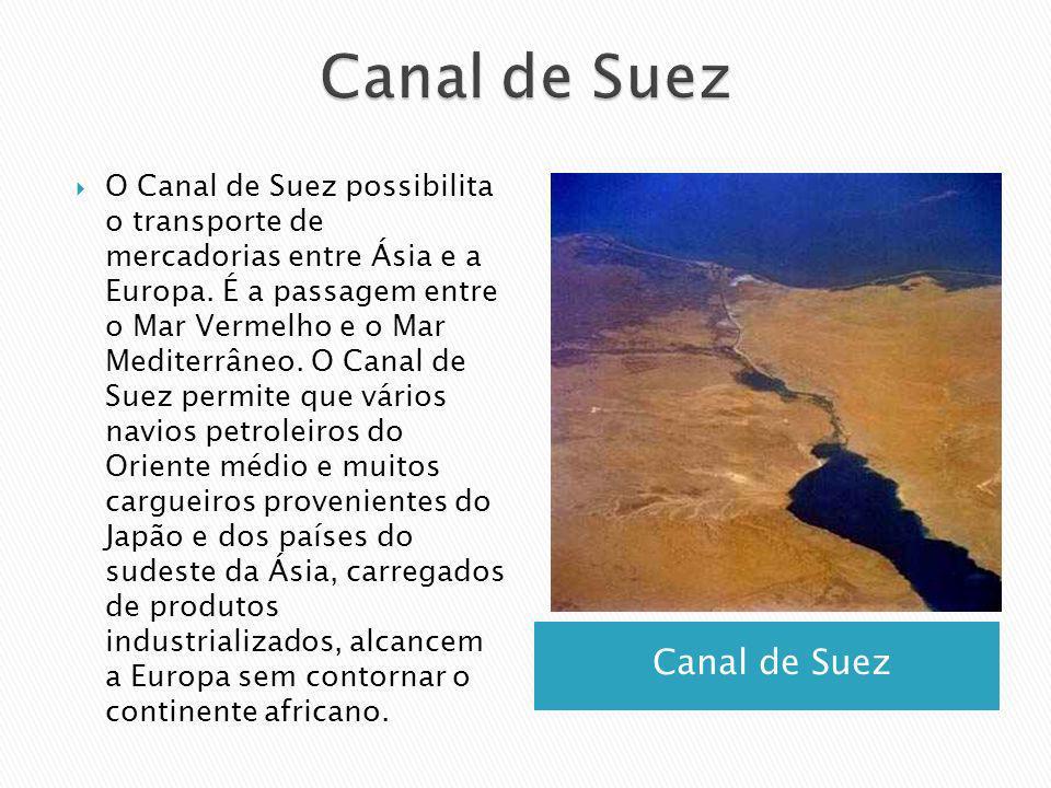 Canal de Suez O Canal de Suez possibilita o transporte de mercadorias entre Ásia e a Europa. É a passagem entre o Mar Vermelho e o Mar Mediterrâneo. O
