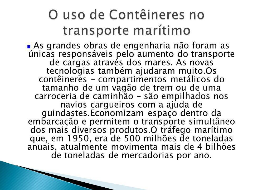 As grandes obras de engenharia não foram as únicas responsáveis pelo aumento do transporte de cargas através dos mares. As novas tecnologias também aj