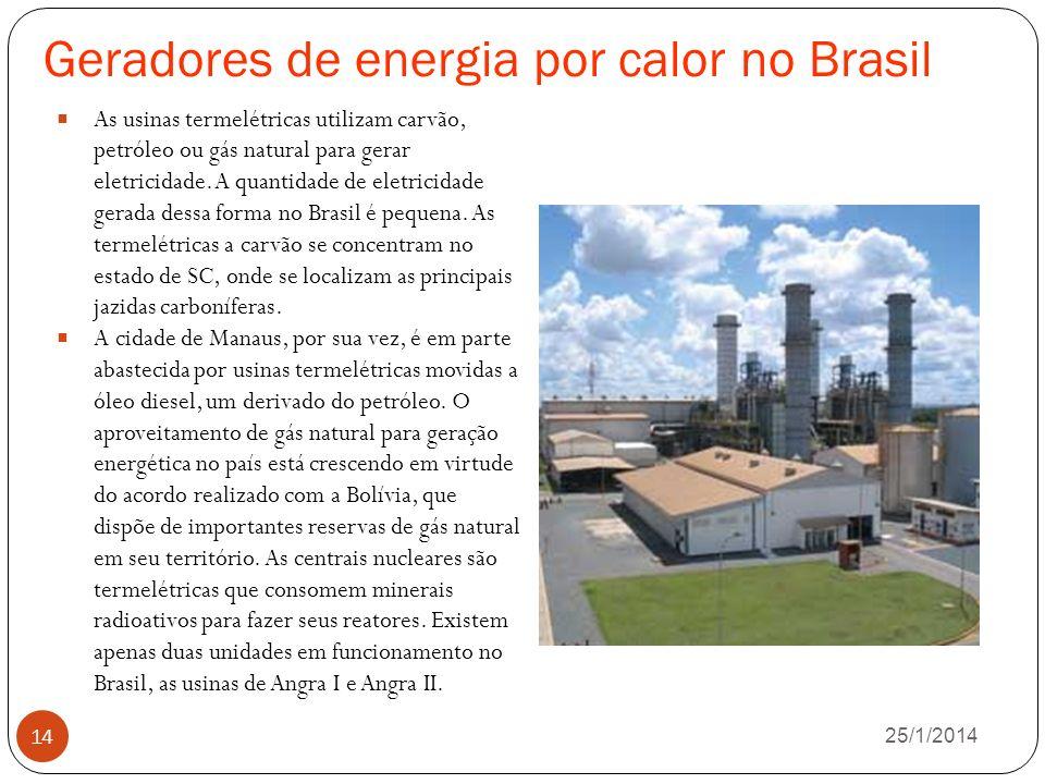 Geradores de energia por calor no Brasil 26/1/2014 14 As usinas termelétricas utilizam carvão, petróleo ou gás natural para gerar eletricidade.