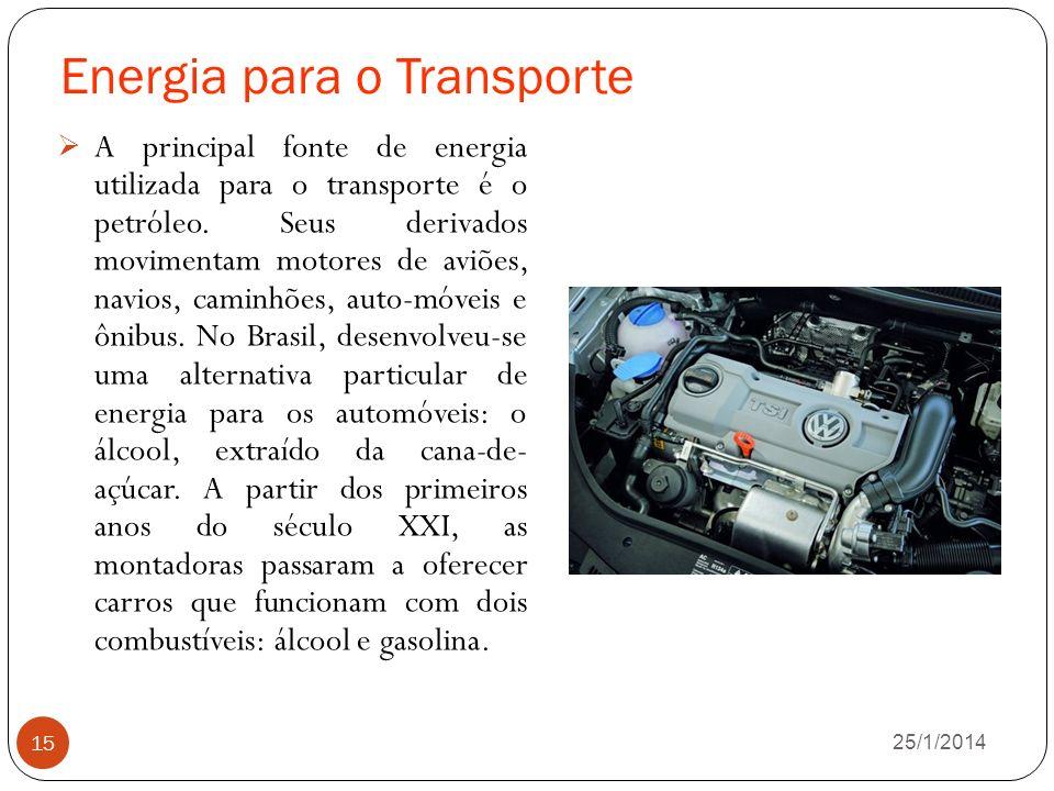 Energia para o Transporte 26/1/2014 15 A principal fonte de energia utilizada para o transporte é o petróleo.
