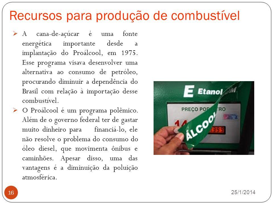Recursos para produção de combustível 26/1/2014 16 A cana-de-açúcar é uma fonte energética importante desde a implantação do Proálcool, em 1975.