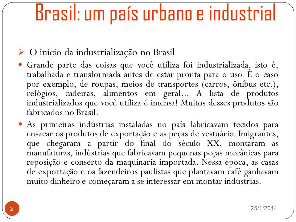 Brasil: um país urbano e industrial 26/1/2014 2 O início da industrialização no Brasil Grande parte das coisas que você utiliza foi industrializada, isto é, trabalhada e transformada antes de estar pronta para o uso.