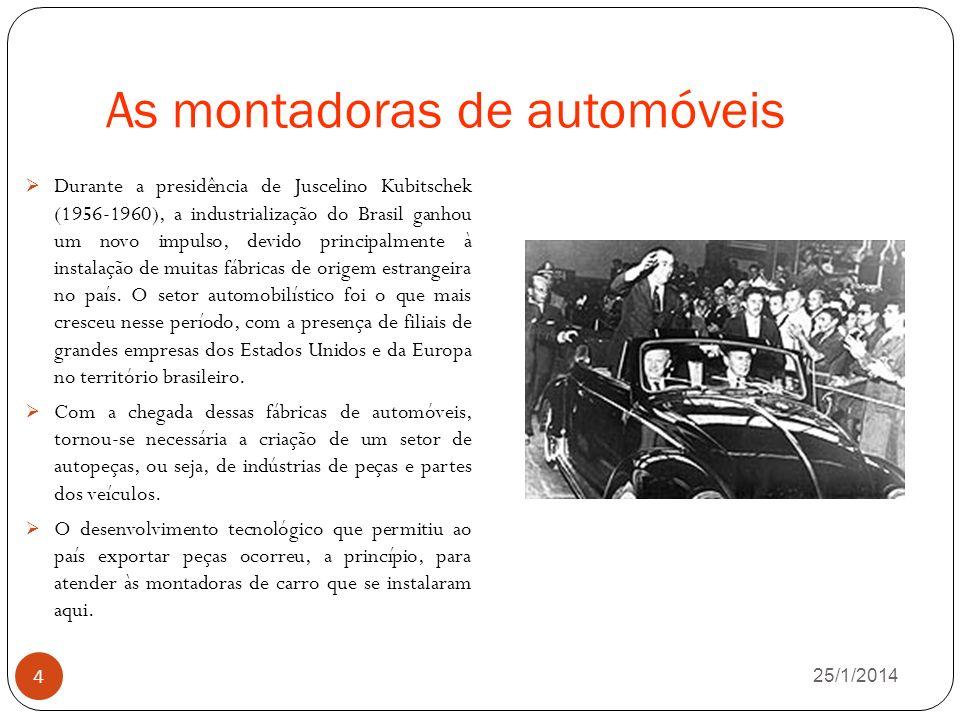 As montadoras de automóveis 26/1/2014 4 Durante a presidência de Juscelino Kubitschek (1956-1960), a industrialização do Brasil ganhou um novo impulso, devido principalmente à instalação de muitas fábricas de origem estrangeira no país.