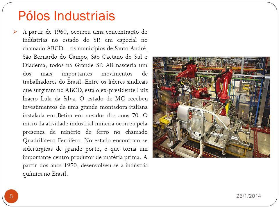 Pólos Industriais 26/1/2014 5 A partir de 1960, ocorreu uma concentração de indústrias no estado de SP, em especial no chamado ABCD – os municípios de Santo André, São Bernardo do Campo, São Caetano do Sul e Diadema, todos na Grande SP.