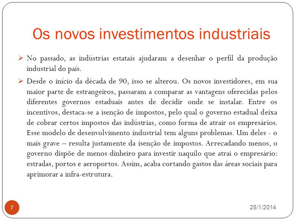 Os novos investimentos industriais 26/1/2014 7 No passado, as indústrias estatais ajudaram a desenhar o perfil da produção industrial do país.