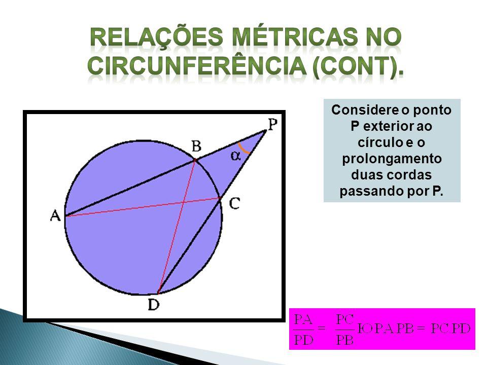 Considere o ponto P exterior ao círculo e o prolongamento duas cordas passando por P.