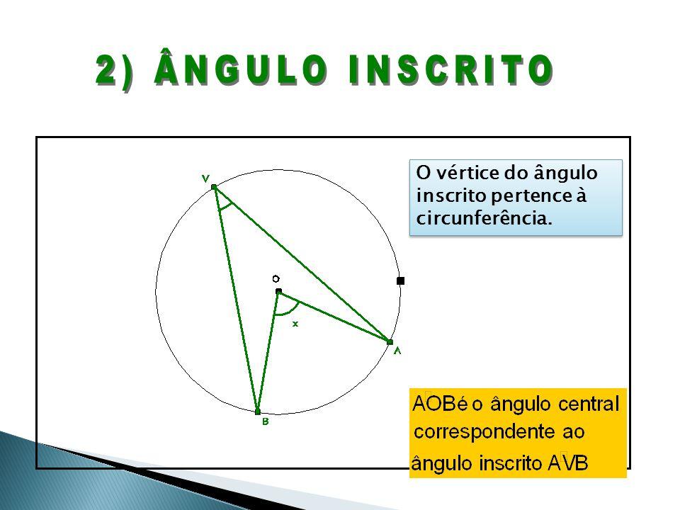 O vértice do ângulo inscrito pertence à circunferência.