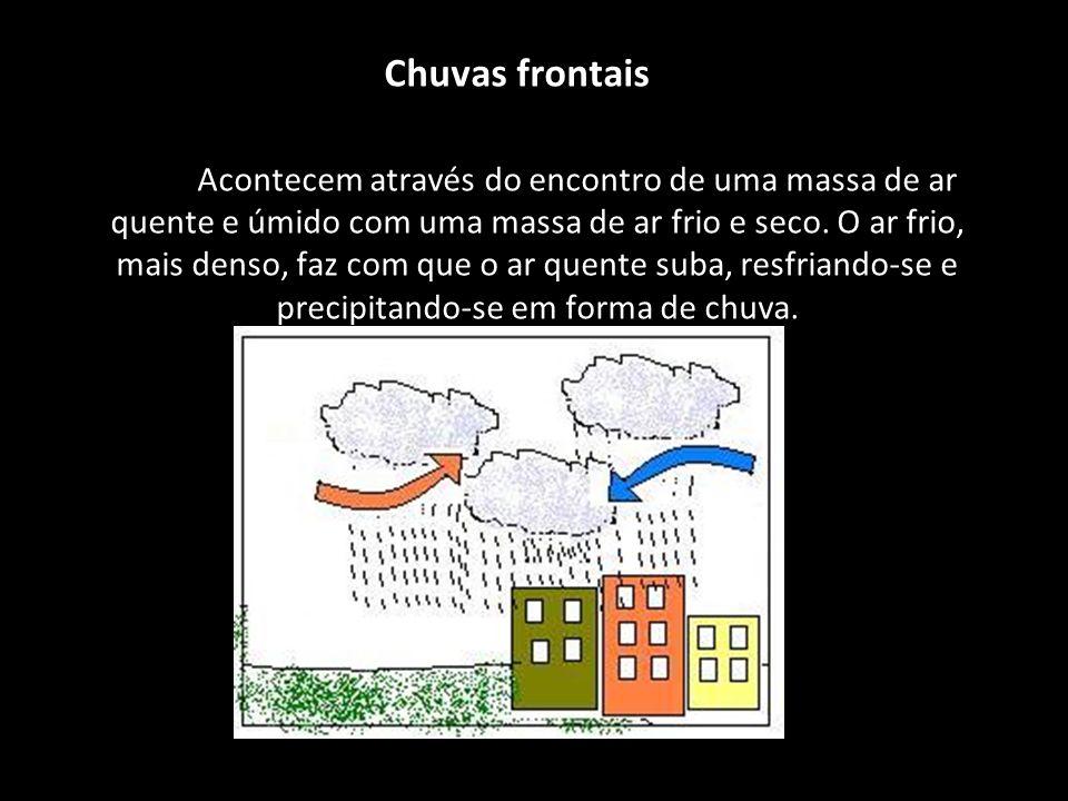 Chuvas frontais Acontecem através do encontro de uma massa de ar quente e úmido com uma massa de ar frio e seco. O ar frio, mais denso, faz com que o