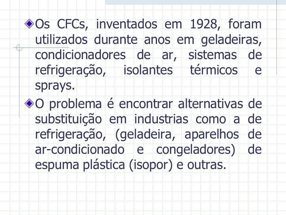 Os CFCs, inventados em 1928, foram utilizados durante anos em geladeiras, condicionadores de ar, sistemas de refrigeração, isolantes térmicos e sprays