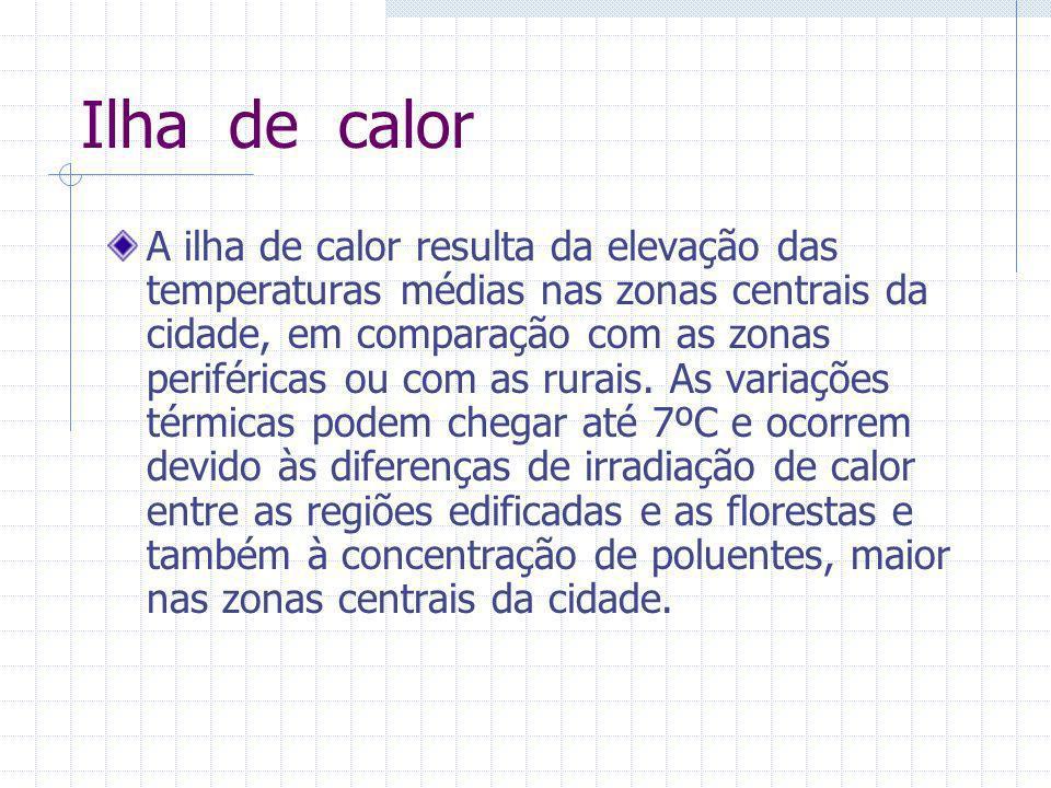 Ilha de calor A ilha de calor resulta da elevação das temperaturas médias nas zonas centrais da cidade, em comparação com as zonas periféricas ou com