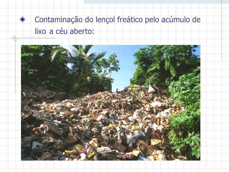 Contaminação do lençol freático pelo acúmulo de lixo a céu aberto: