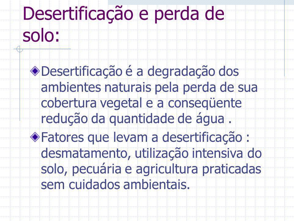 Desertificação e perda de solo: Desertificação é a degradação dos ambientes naturais pela perda de sua cobertura vegetal e a conseqüente redução da qu