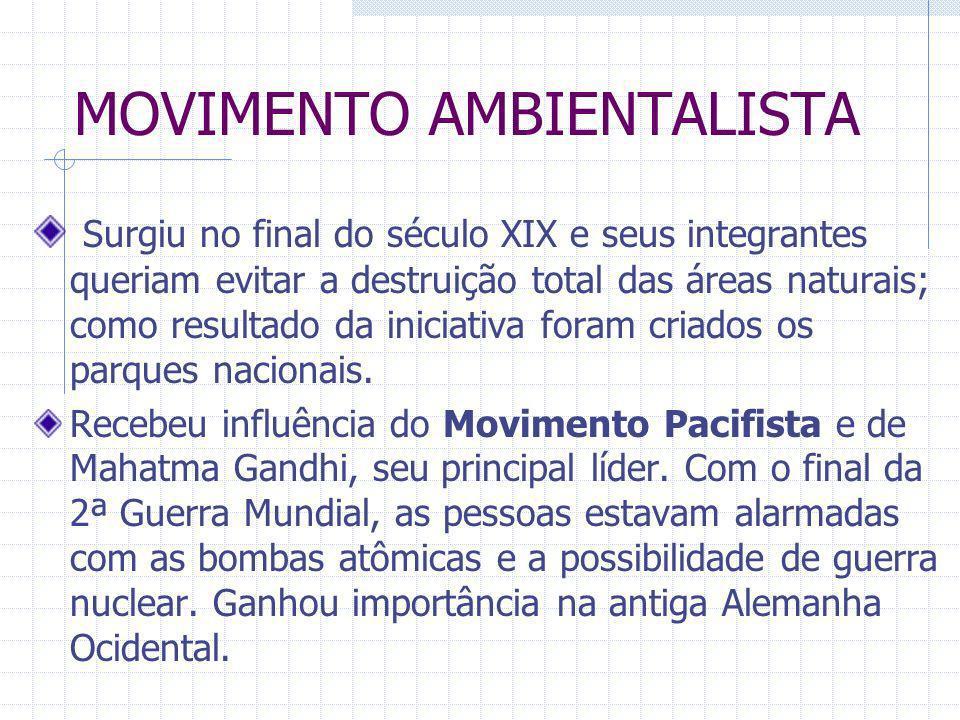 MOVIMENTO AMBIENTALISTA Surgiu no final do século XIX e seus integrantes queriam evitar a destruição total das áreas naturais; como resultado da inici