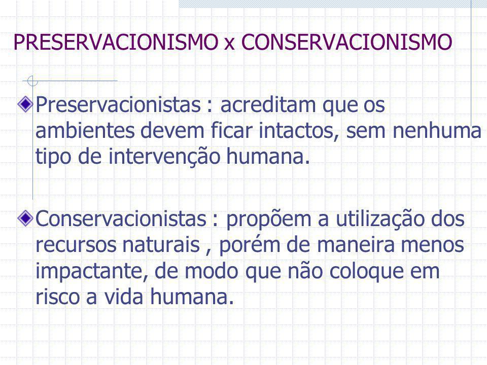 PRESERVACIONISMO x CONSERVACIONISMO Preservacionistas : acreditam que os ambientes devem ficar intactos, sem nenhuma tipo de intervenção humana. Conse