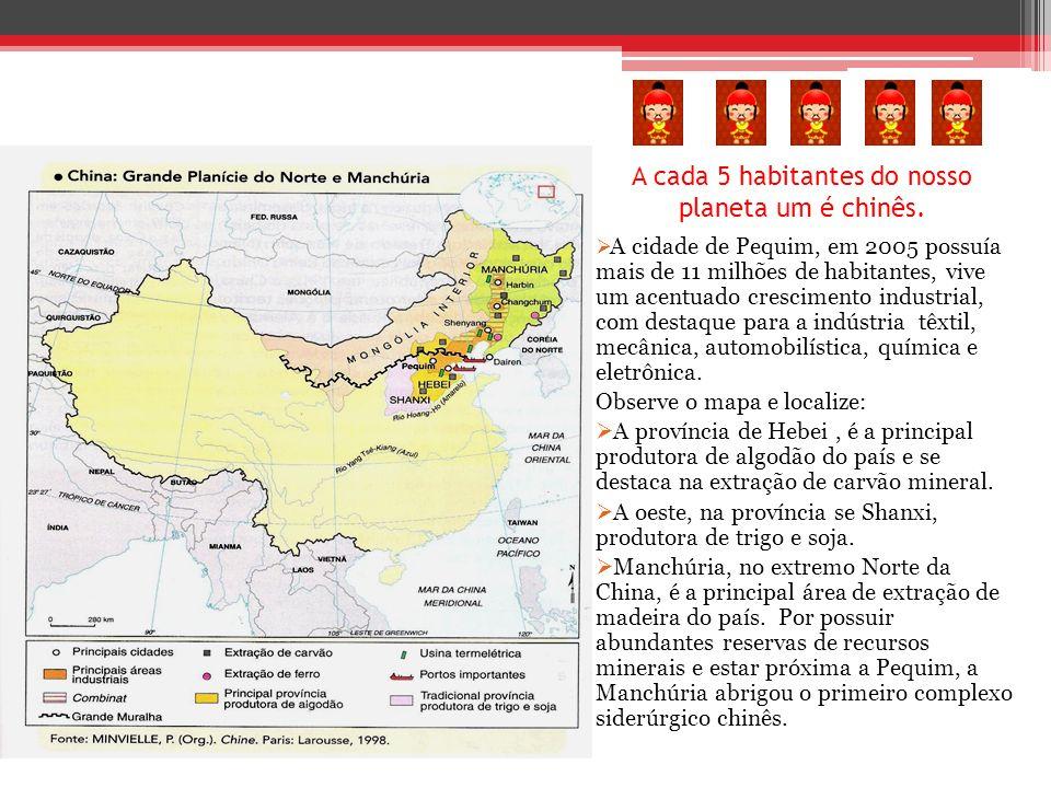 A cada 5 habitantes do nosso planeta um é chinês. A cidade de Pequim, em 2005 possuía mais de 11 milhões de habitantes, vive um acentuado crescimento