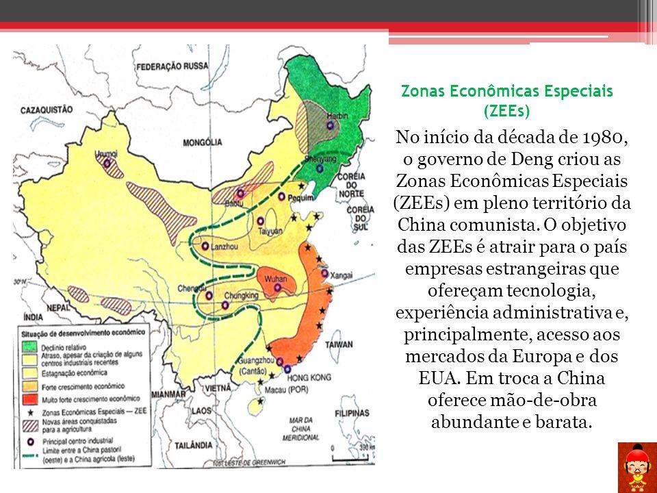 Zonas Econômicas Especiais (ZEEs) No início da década de 1980, o governo de Deng criou as Zonas Econômicas Especiais (ZEEs) em pleno território da Chi