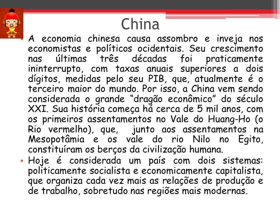 China A economia chinesa causa assombro e inveja nos economistas e políticos ocidentais. Seu crescimento nas últimas três décadas foi praticamente ini