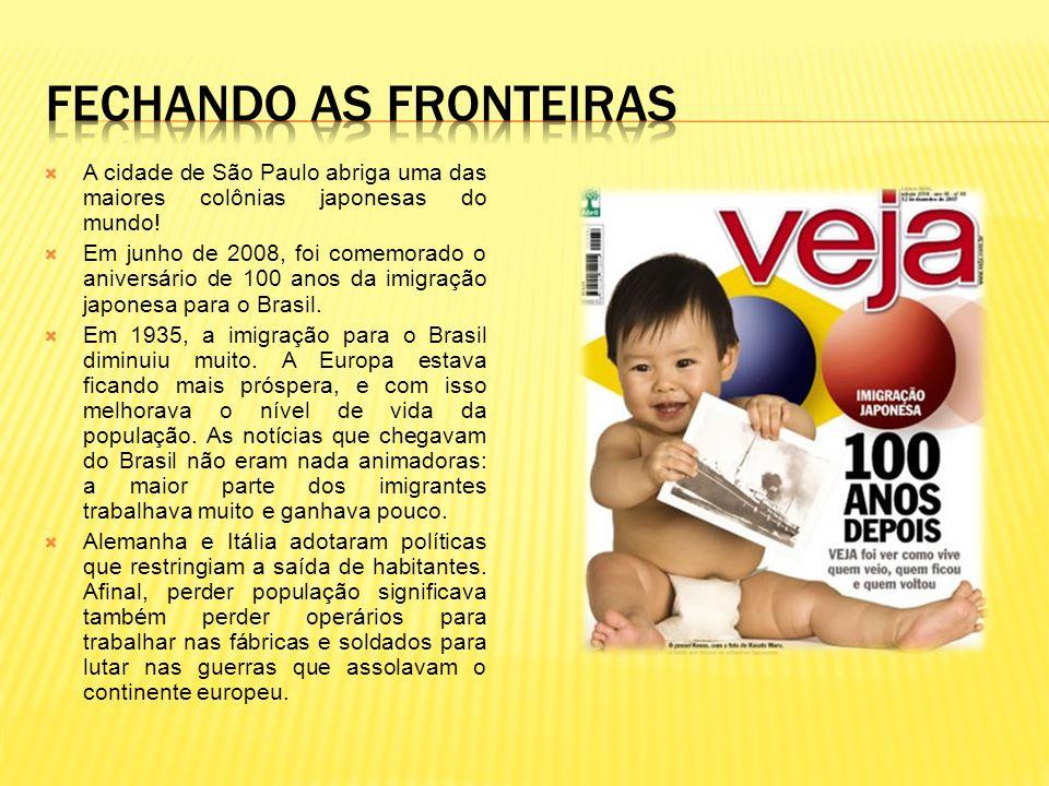 A cidade de São Paulo abriga uma das maiores colônias japonesas do mundo! Em junho de 2008, foi comemorado o aniversário de 100 anos da imigração japo