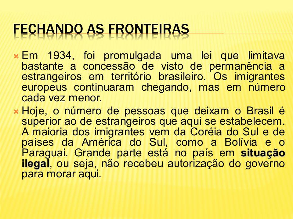 Em 1934, foi promulgada uma lei que limitava bastante a concessão de visto de permanência a estrangeiros em território brasileiro. Os imigrantes europ