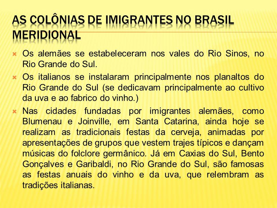 Os alemães se estabeleceram nos vales do Rio Sinos, no Rio Grande do Sul. Os italianos se instalaram principalmente nos planaltos do Rio Grande do Sul