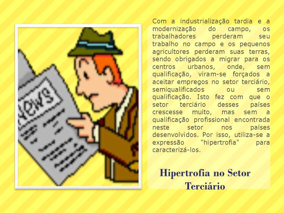 Hipertrofia no Setor Terciário Com a industrialização tardia e a modernização do campo, os trabalhadores perderam seu trabalho no campo e os pequenos