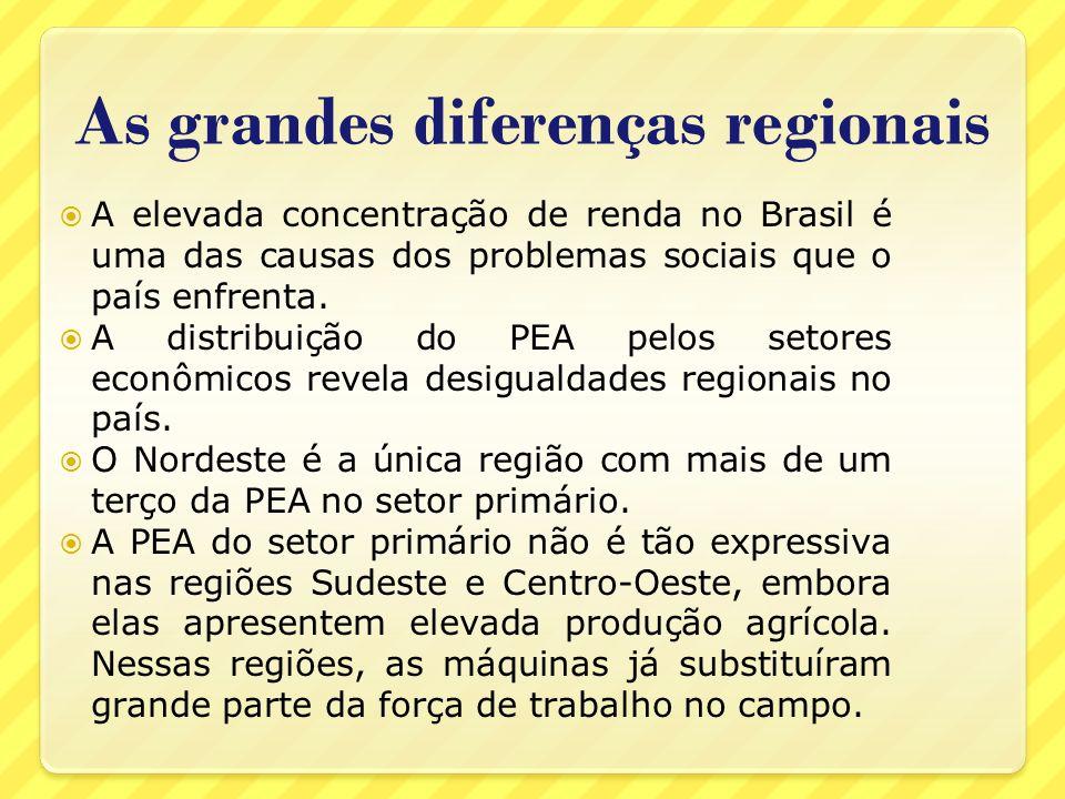 As grandes diferenças regionais A elevada concentração de renda no Brasil é uma das causas dos problemas sociais que o país enfrenta. A distribuição d