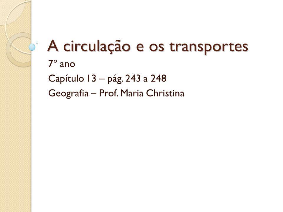 A circulação e os transportes 7º ano Capítulo 13 – pág. 243 a 248 Geografia – Prof. Maria Christina