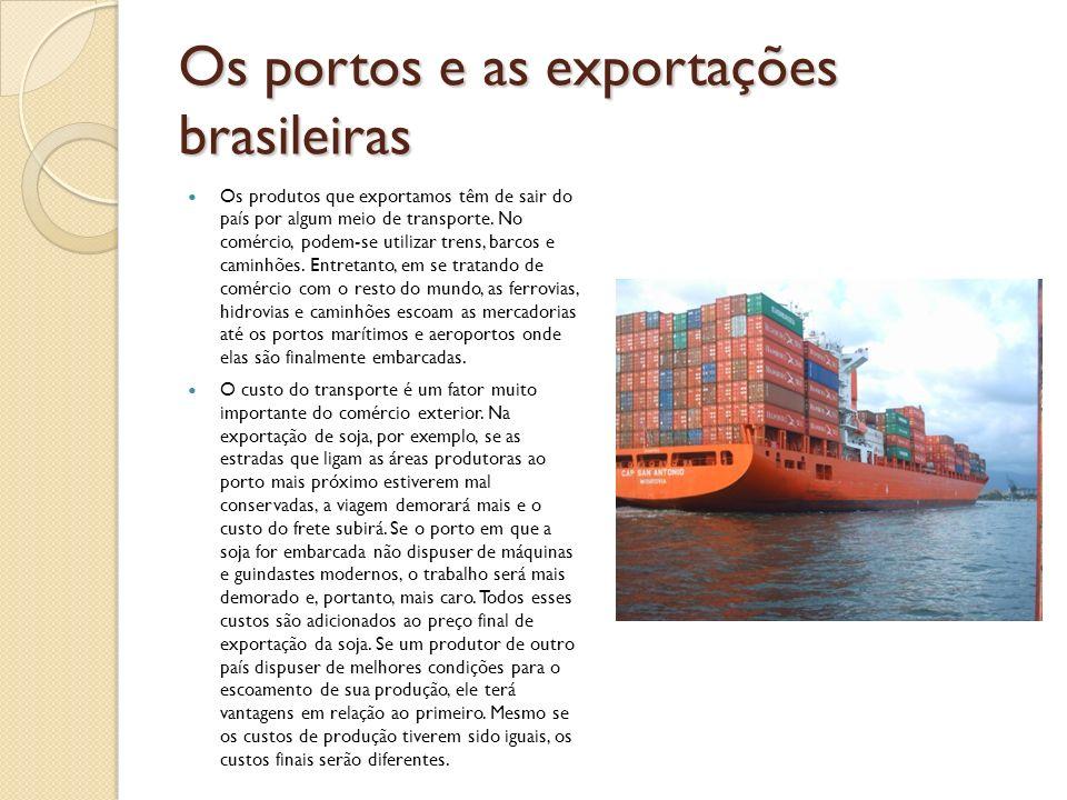 Os portos e as exportações brasileiras Os produtos que exportamos têm de sair do país por algum meio de transporte. No comércio, podem-se utilizar tre