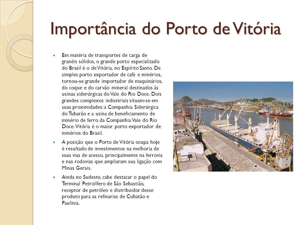 Importância do Porto de Vitória Em matéria de transportes de carga de granéis sólidos, o grande porto especializado do Brasil é o de Vitória, no Espír