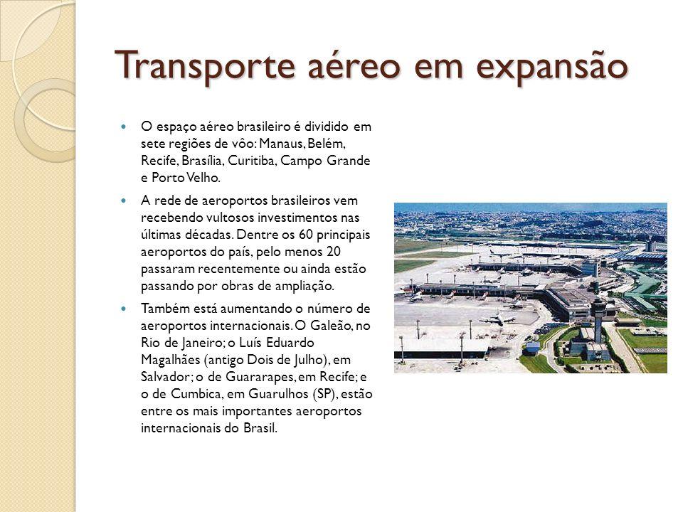 Transporte aéreo em expansão O espaço aéreo brasileiro é dividido em sete regiões de vôo: Manaus, Belém, Recife, Brasília, Curitiba, Campo Grande e Po
