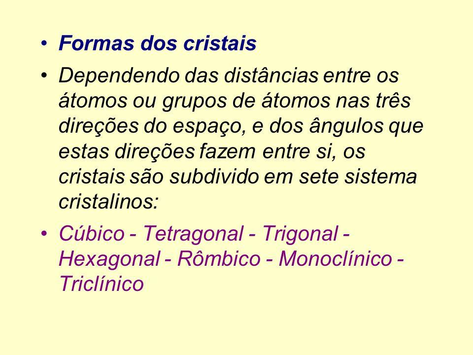 Formas dos cristais Dependendo das distâncias entre os átomos ou grupos de átomos nas três direções do espaço, e dos ângulos que estas direções fazem