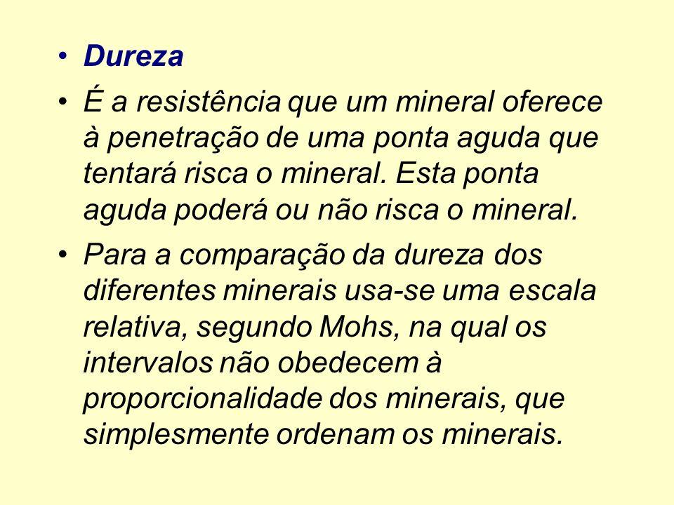 Dureza É a resistência que um mineral oferece à penetração de uma ponta aguda que tentará risca o mineral. Esta ponta aguda poderá ou não risca o mine