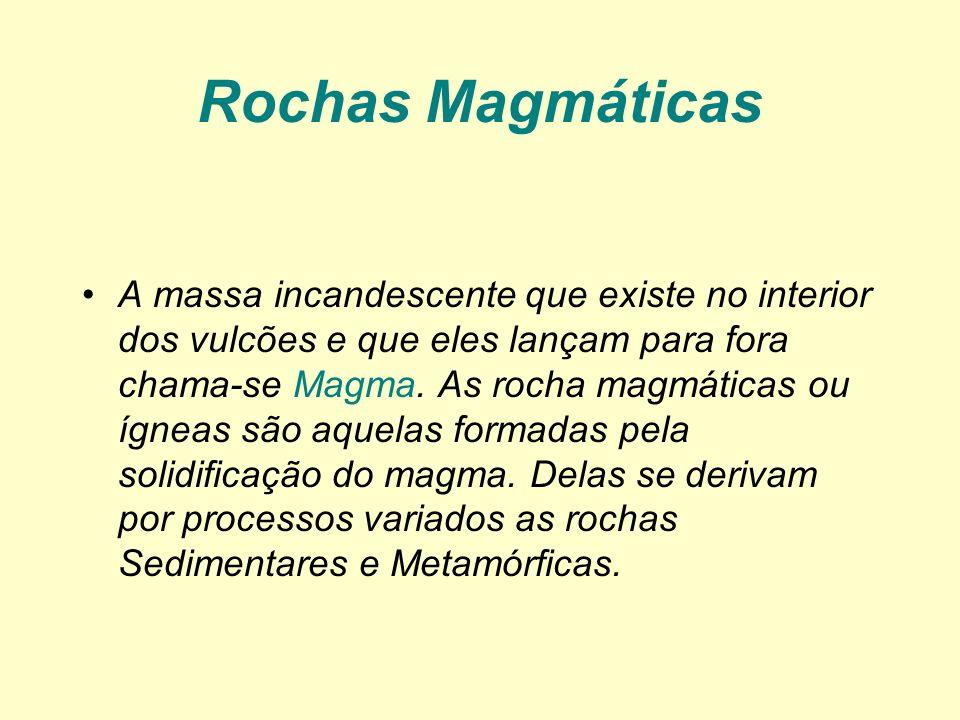 Rochas Magmáticas A massa incandescente que existe no interior dos vulcões e que eles lançam para fora chama-se Magma. As rocha magmáticas ou ígneas s