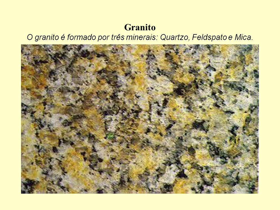 Granito O granito é formado por três minerais: Quartzo, Feldspato e Mica.