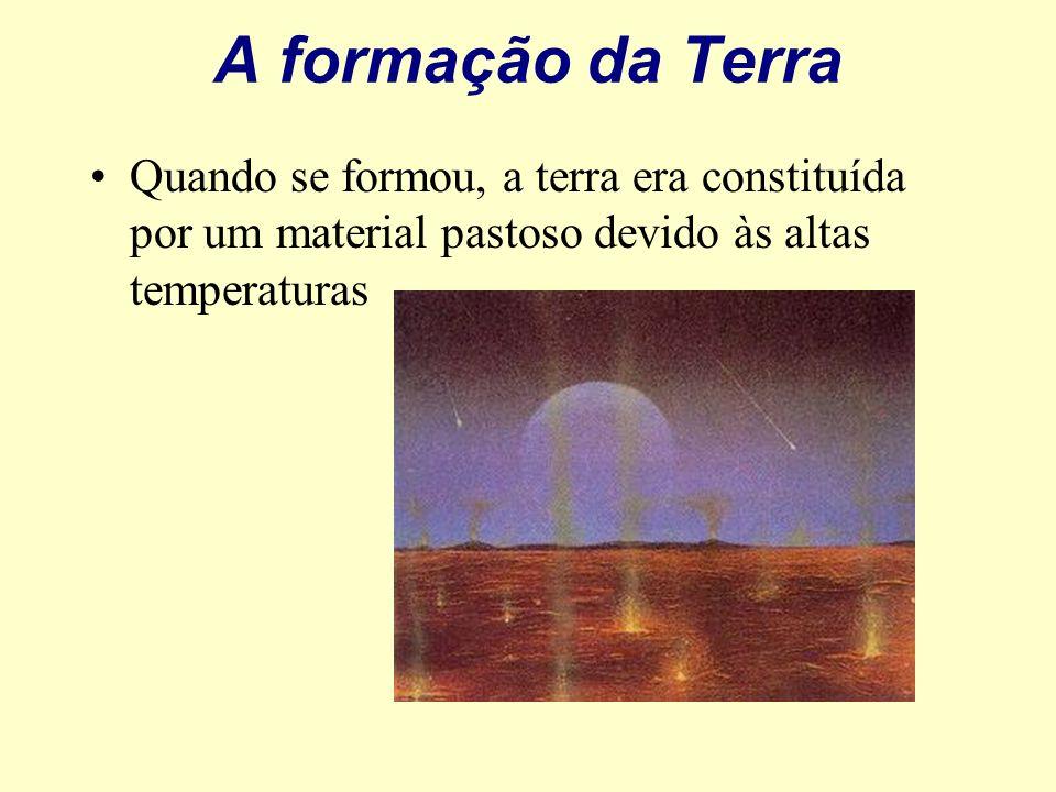 A formação da Terra Quando se formou, a terra era constituída por um material pastoso devido às altas temperaturas