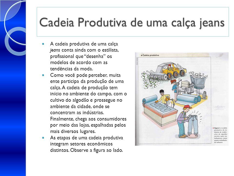 Cadeia Produtiva de uma calça jeans A cadeia produtiva de uma calça jeans conta ainda com o estilista, profissional que desenha os modelos de acordo c