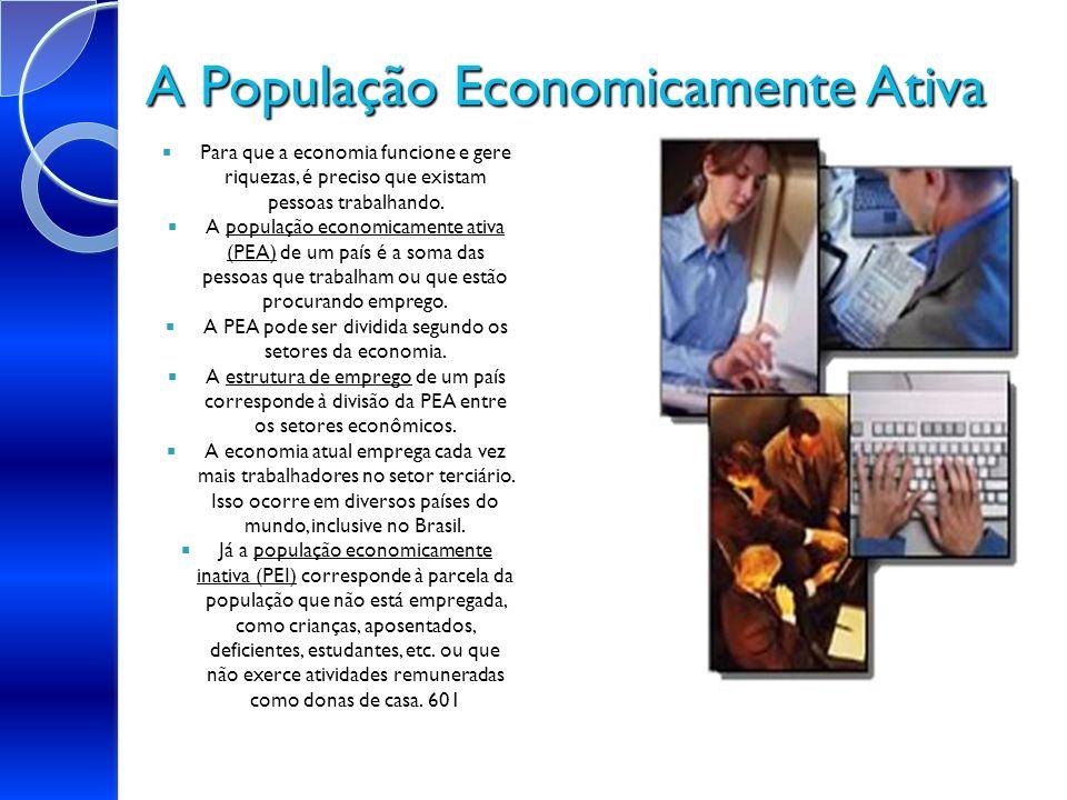 A População Economicamente Ativa Para que a economia funcione e gere riquezas, é preciso que existam pessoas trabalhando. população economicamente ati