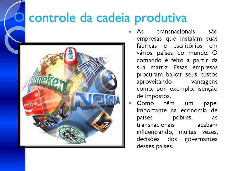 O controle da cadeia produtiva As transnacionais são empresas que instalam suas fábricas e escritórios em vários países do mundo. O comando é feito a